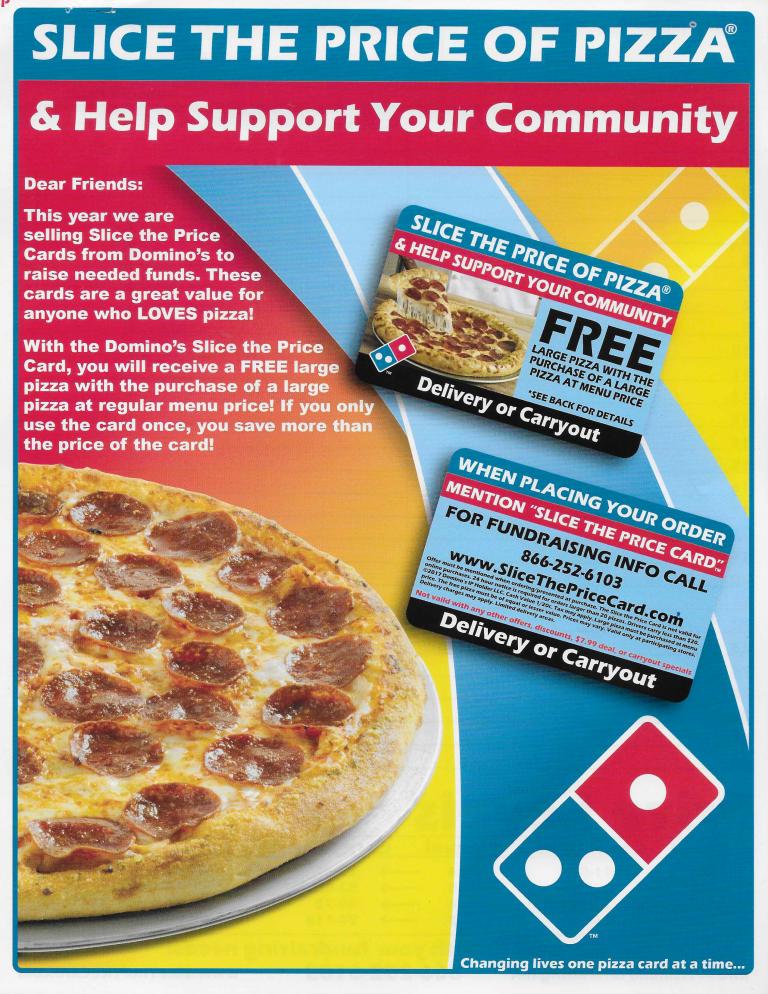 Dominos fundraiser flyer