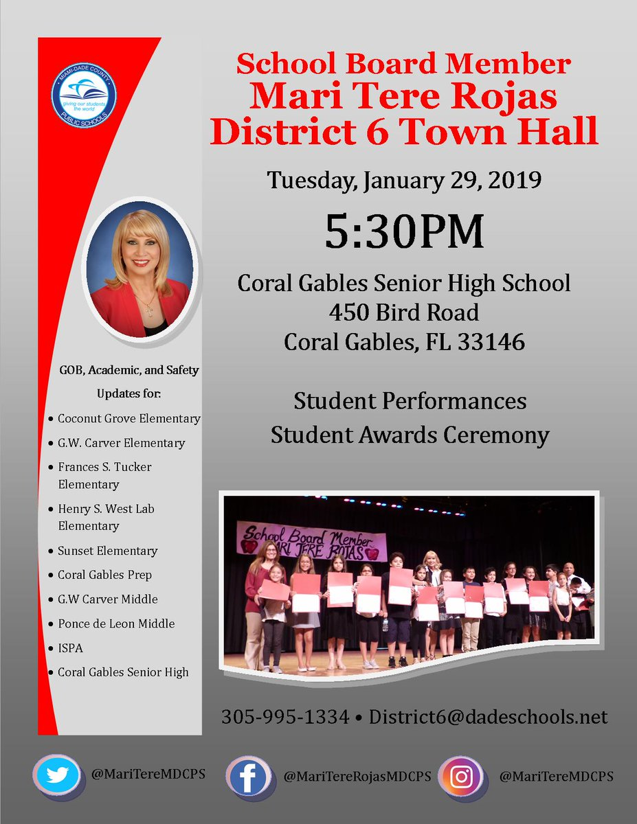 District 6 Town Hall Meeting @ Coral Gables Senior High